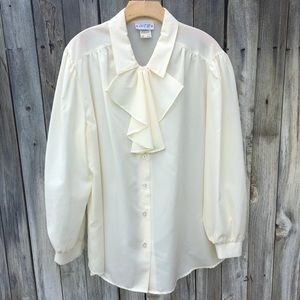 Vintage Act III Sheer Tie Neck Blouse Cream 20